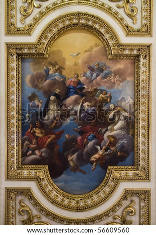Jesus Christ and coronation of holy mary - paint from Florence church of st. Mark - roof - stock photo