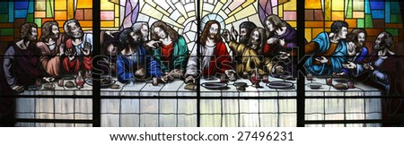 Jesus Christ and his Apostles at the Last Supper. - stock photo