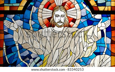 Jesus Christ Church Stained Glass Pane - stock photo