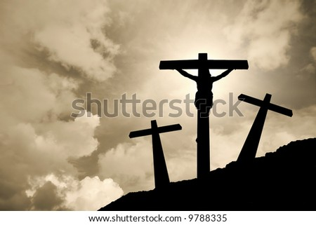 Jesus Christ crucified in Golgotha - stock photo