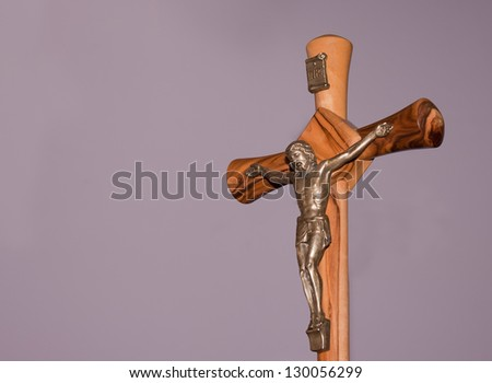 Jesus Christ crucified, with violet background