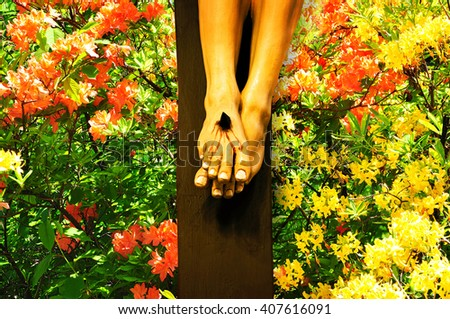 Jesus Christ crucifixion for eternal life, religious concept - stock photo