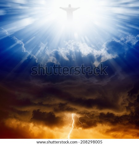 Jesus Christ in blue sky with clouds, bright light from heaven, heaven and hell - stock photo