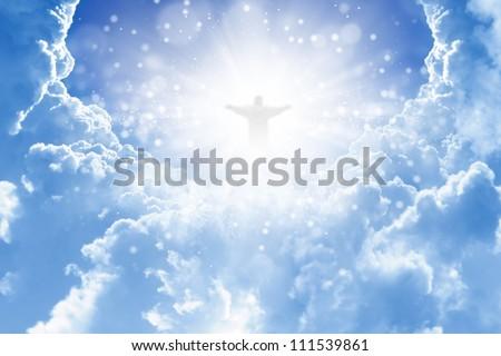 jesus christ blue sky clouds heaven stock illustration 111539861