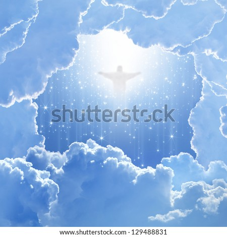 Jesus Christ in blue sky with white clouds and falling stars - heaven, easter - stock photo