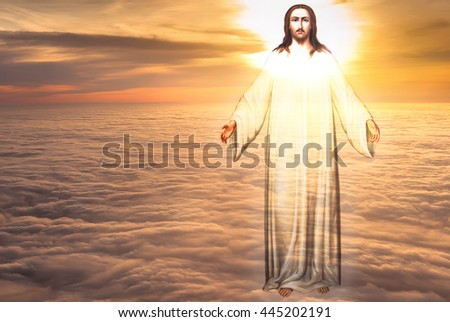 Jesus Christ in sky with clouds heaven - stock photo