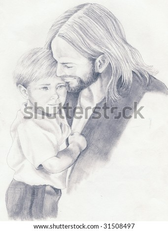 Jesus Christ is seen holding a small boy done in a black and white pencil sketch - stock photo