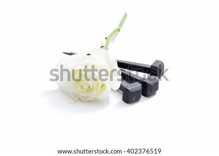 Jesus Christ nails from the Crucifixion and white rose on a white background. - stock photo