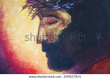 Jesus Christ  oil painting  - stock photo