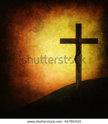 Jesus Christ on a grunge background of the sun - stock photo