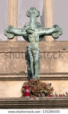 jesus christ on cross - stock photo