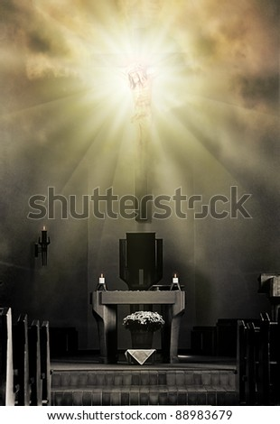 Jesus Christ on the cross in bright light - stock photo
