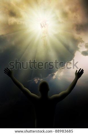 Jesus Christ on the cross in bright light