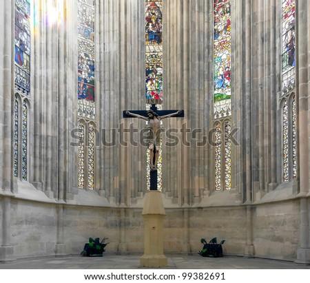 Jesus Christ on the cross in the Batalha-Santa Maria da Vitoria-Dominican abbey - Portugal - stock photo