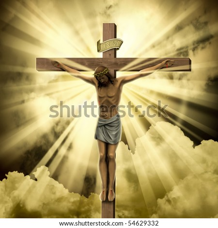 Jesus Christ on the Cross with Clouds - stock photo