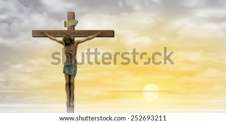 Jesus Christ on the Cross with Clouds and Misty Sunrise, Sunset. - stock photo