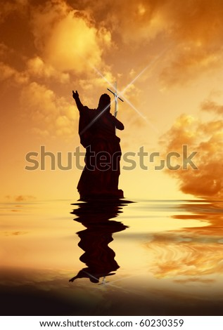 Jesus Christ on Water pointing the way heavenwards silhouette with light bouncing off Cross held upright - stock photo