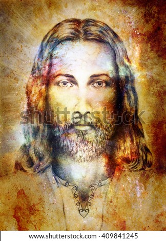Jesus Christ painting with radiant colorful energy of light, eye contact - stock photo