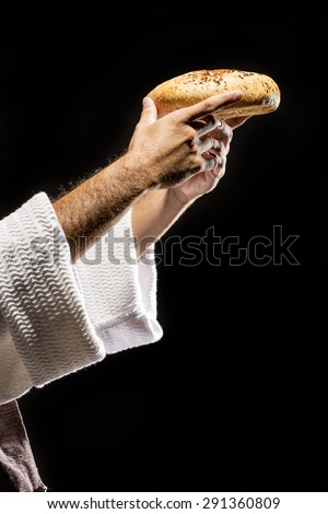 Jesus Christ praying to God. Blessing the bread at the Last Supper - stock photo