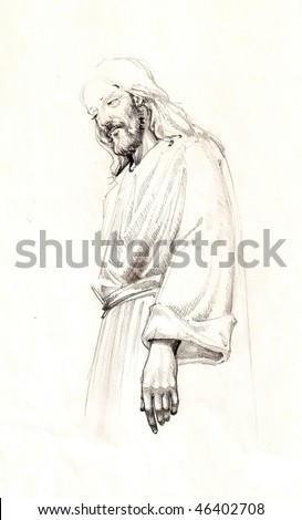 Jesus Christ sketch portrait - stock photo