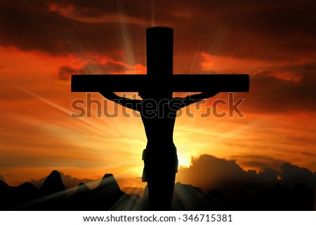 Jesus Christ Son of God over dramatic sky background - stock photo
