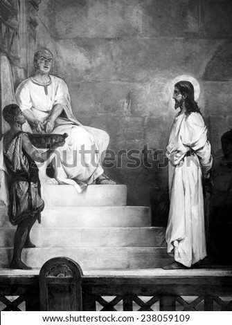 Jesus Christ, title: Pontius Pilate washing his hands, from Christ's Passion set of paintings by Kosheleff, ca early 1900s.
