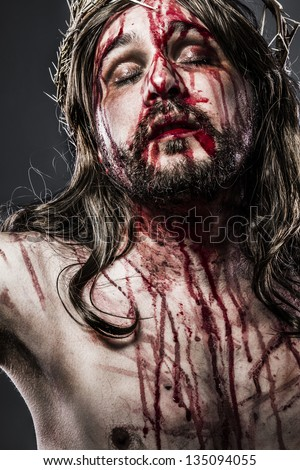 Jesus Christ with crown of thorns, passion concept - stock photo