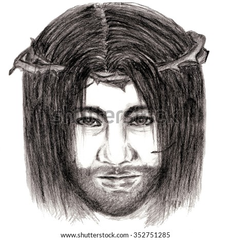 Jesus Christ with crown of thorns sketch art hand drawn illustration of Christianity on white background