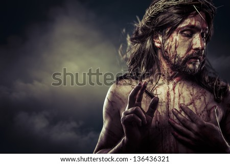 Jesus Christ with crown of thorns white on the cross, Easter in Spain - stock photo