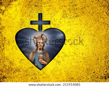 Jesus,Cross,heart with Gold  leaf metal texture background - stock photo