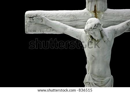 Jesus Cross on a black Background - stock photo