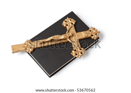 jesus crucified on the cross on white background - stock photo