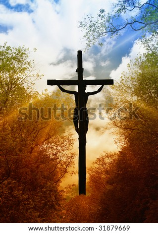 Jesus Crucifixion, symbol of God's love to people - stock photo