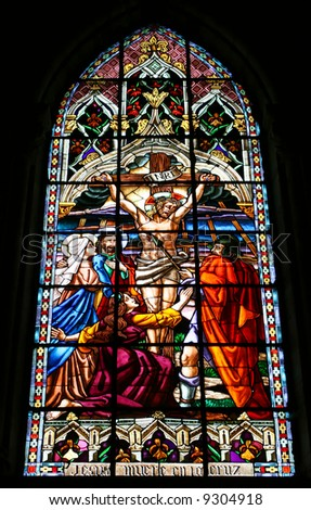 Jesus Died On the Cross Stained Glass