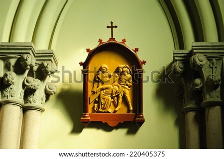 Jesus falls the second time on the cross way - stock photo