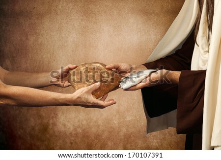 Jesus gives bread and fish on beige background - stock photo