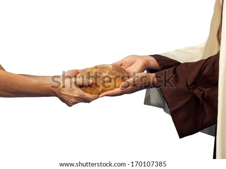 Jesus gives the bread to a beggar on white background - stock photo