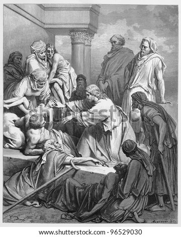 Jesus healing in the land of Gennesaret - Picture from The Holy Scriptures, Old and New Testaments books collection published in 1885, Stuttgart-Germany. Drawings by Gustave Dore. - stock photo