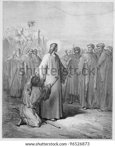 Jesus healing the demoniac boy - Picture from The Holy Scriptures, Old and New Testaments books collection published in 1885, Stuttgart-Germany. Drawings by Gustave Dore. - stock photo