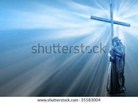 jesus holding a cross on blue background with white rays - stock photo