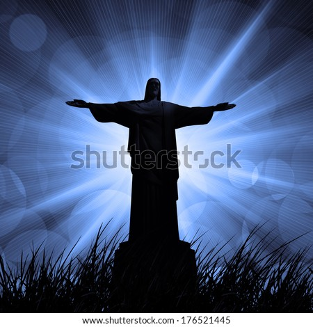 jesus in a grass, and dark sky background   - stock photo