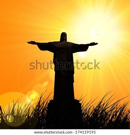jesus in a grass, and sunset sky background