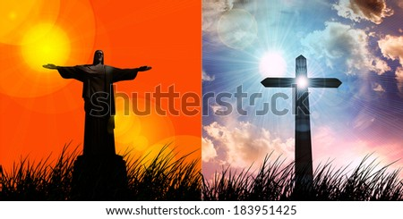 jesus in a grass cross and sunset sky background - stock photo