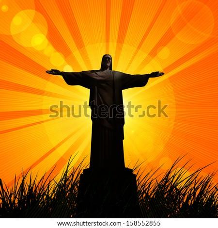 jesus, in a grass, sunset, sky background - stock photo