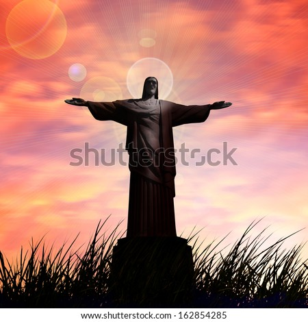 jesus, in a grass, sunset,sunrise sky background