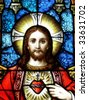 Jesus in stained glass - stock vector