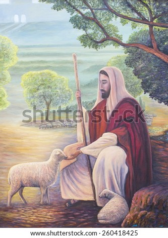 Jesus is the shepherd, original oil painting on canvas - stock photo