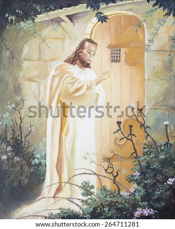 Jesus  knocking on the door, original oil painting on canvas - stock photo