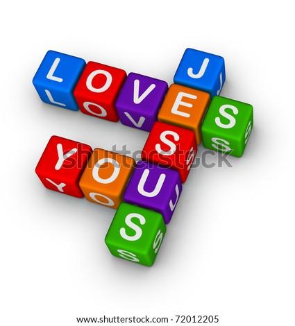 Jesus loves you multicolor symbol - stock photo