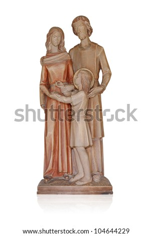 Jesus Mary and Joseph on wood - stock photo